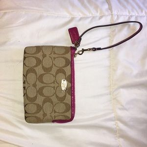 Pink and brown corner zip coach wristlet